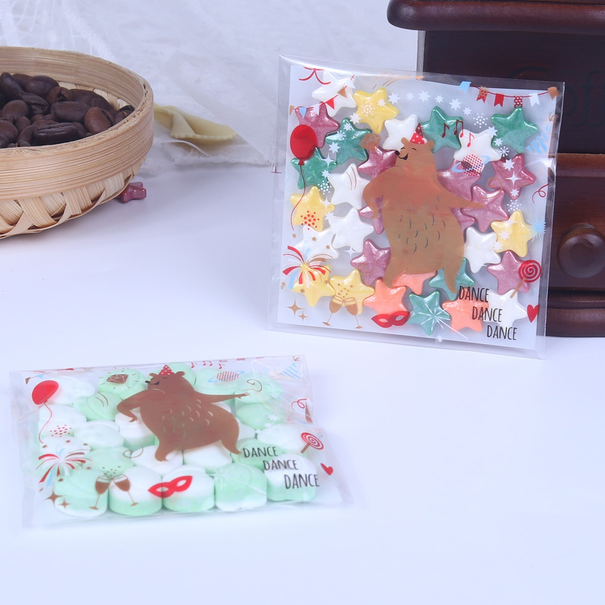 100шт Случайный пакет для печенья с принтом медведя