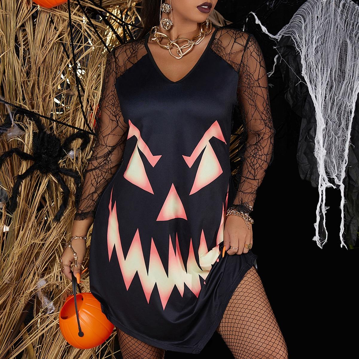 Контрастная сетка Хэллоуин Повседневный Платья размер плюс