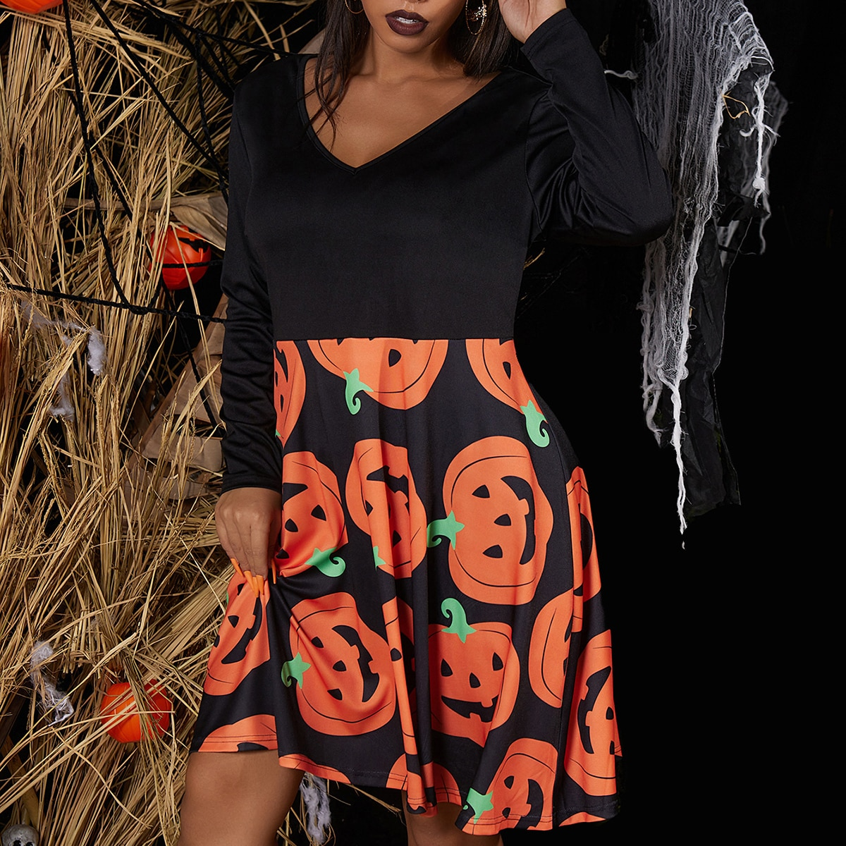 Хэллоуин Повседневный Платья размер плюс