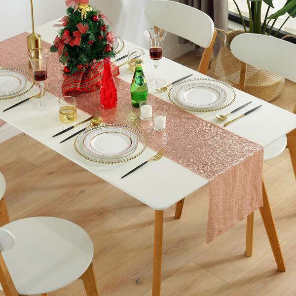 Sequin Table Runner, Rose gold