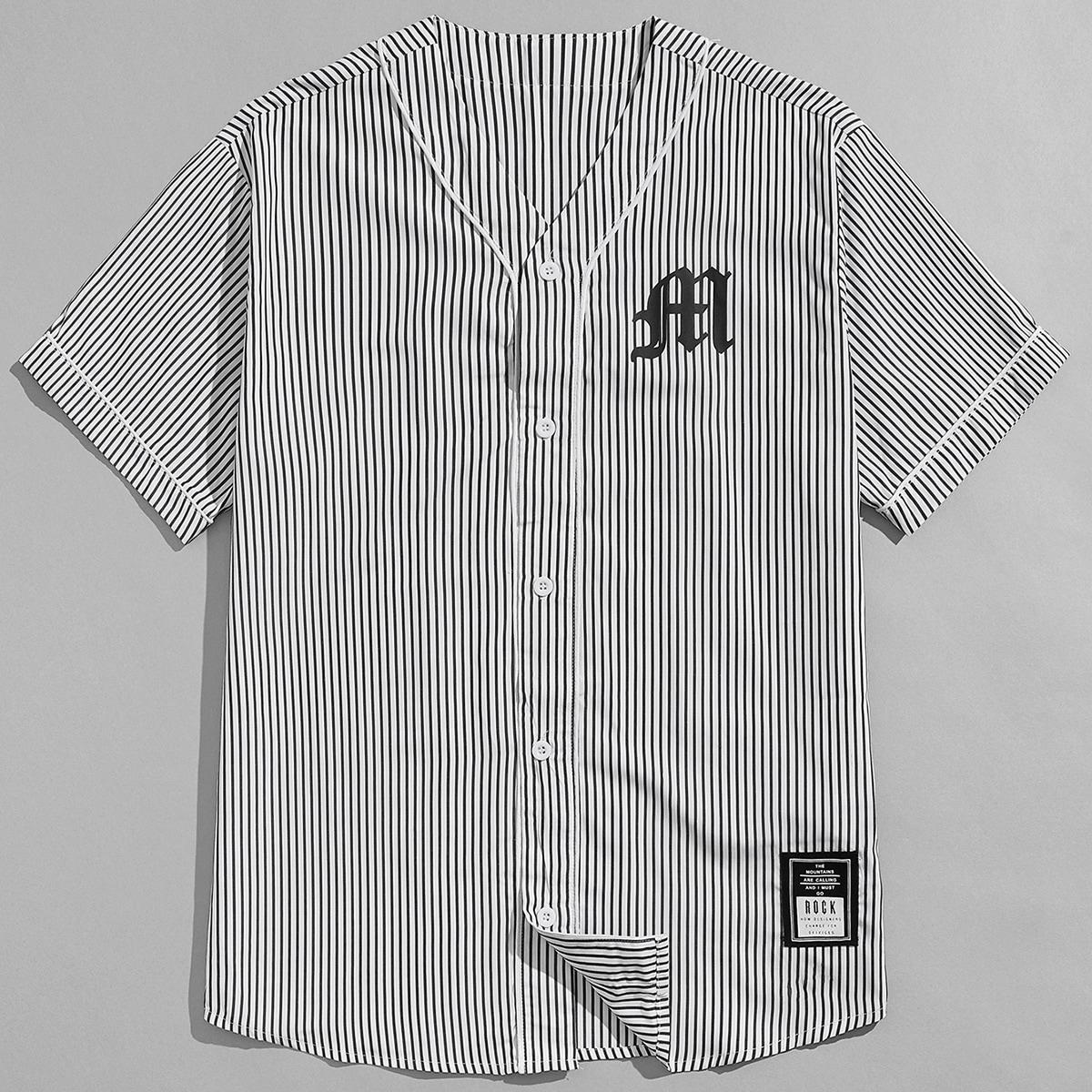 Пуговица буква Полосатый Институтский Мужские рубашки