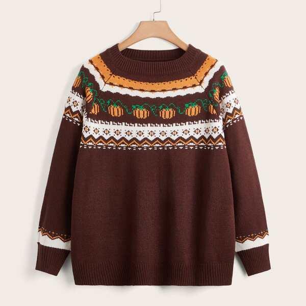 Plus Chevron & Pumpkin Pattern Raglan Sleeve Sweater, Brown