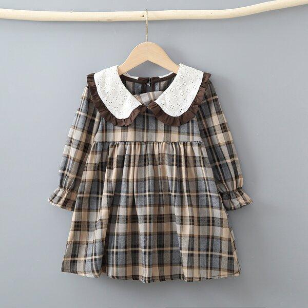 Toddler Girls Plaid Print Peter-pan Collar Flounce Sleeve Dress, Multicolor