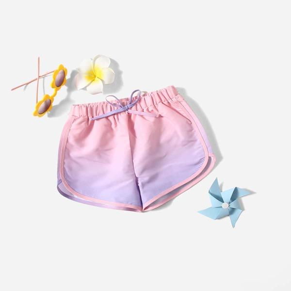 Toddler Girls Tie Front Swim Shorts, Multicolor