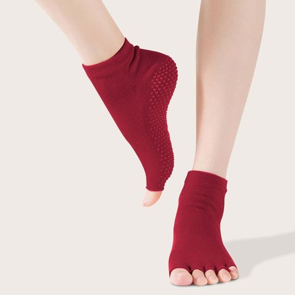 1pair Non-slip Yoga Open Toe Socks, Burgundy