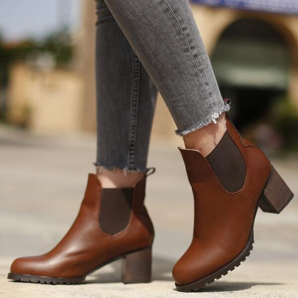Minimalist Slip-On Chunky Heeled Chelsea Boots, Brown