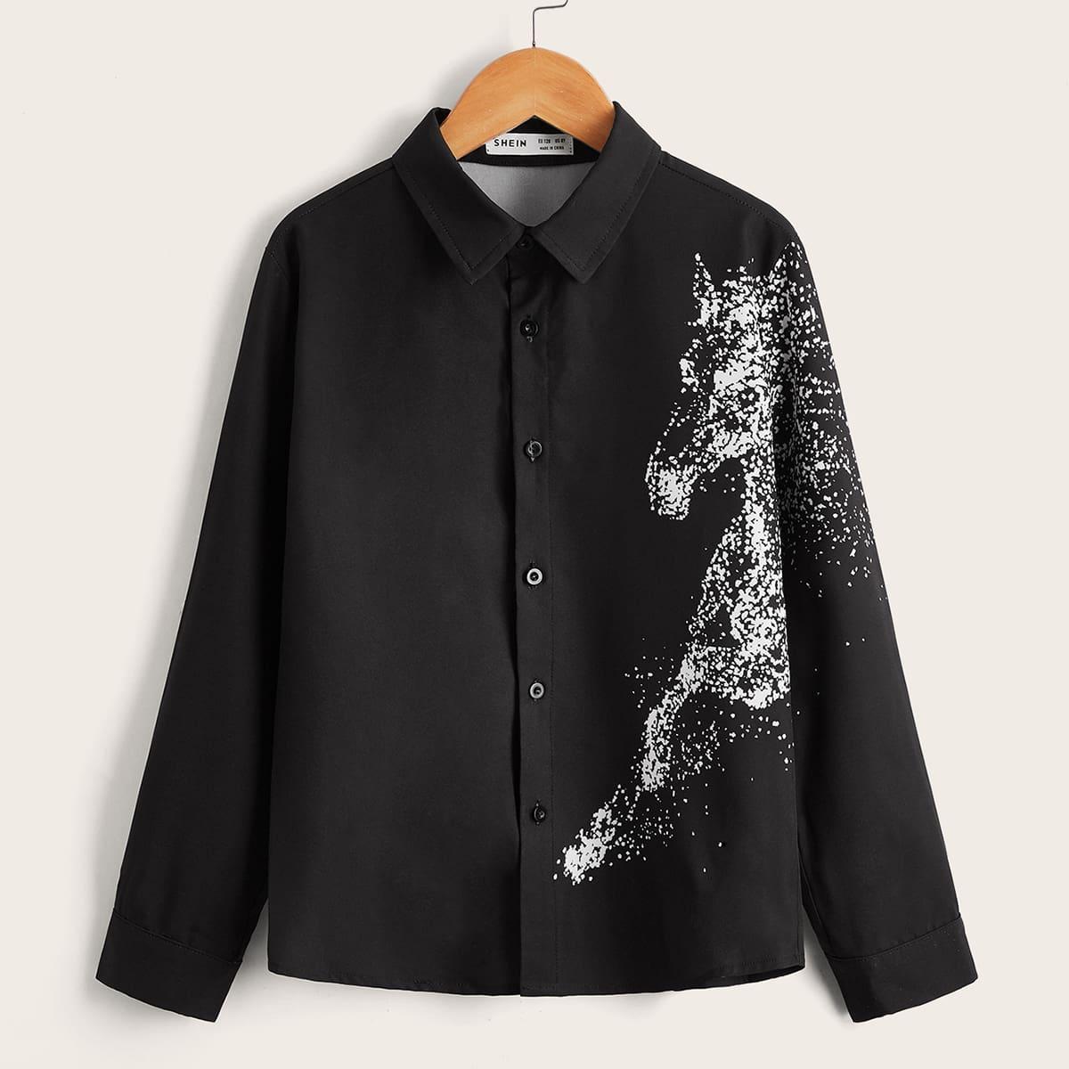 Пуговица Животный Повседневный Рубашки для мальчиков
