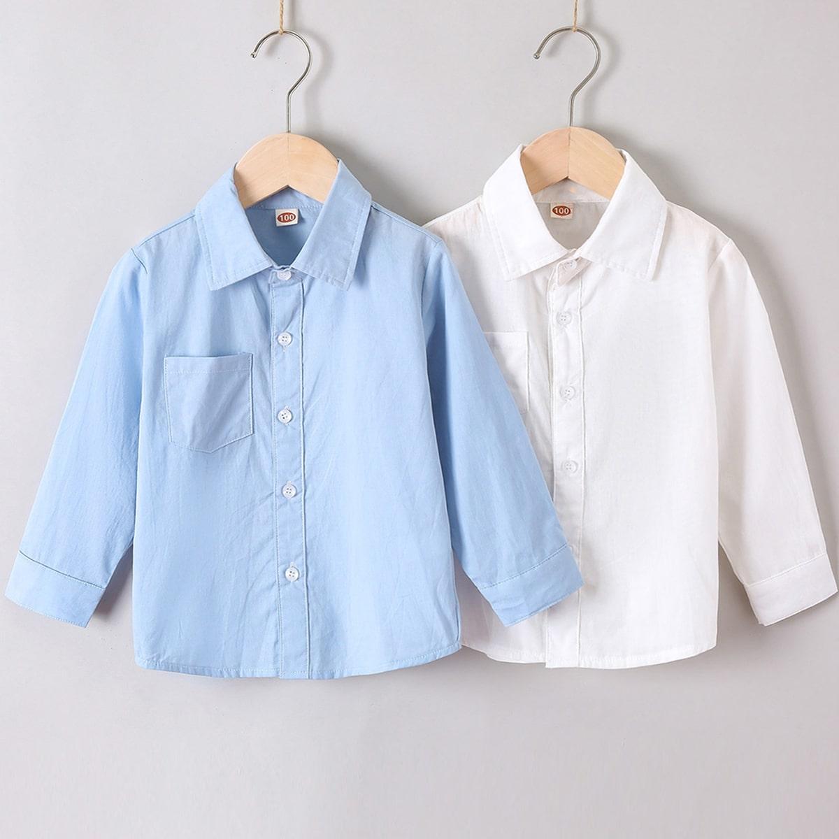 для мальчиков 2шт Рубашка с карманом на пуговицах