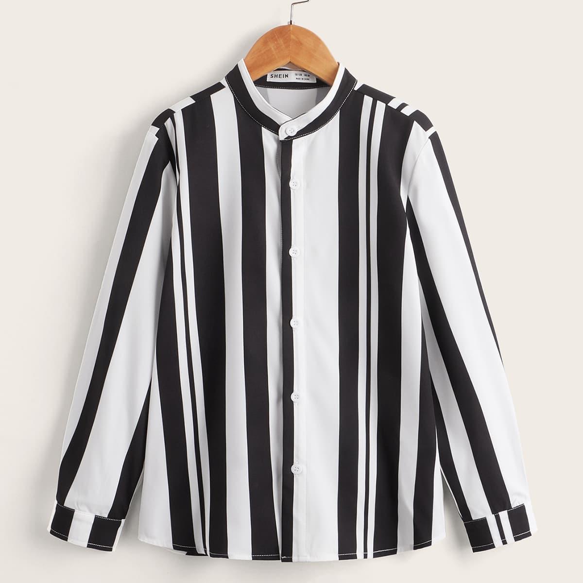 Пуговица Полосатый Повседневный Рубашки для мальчиков