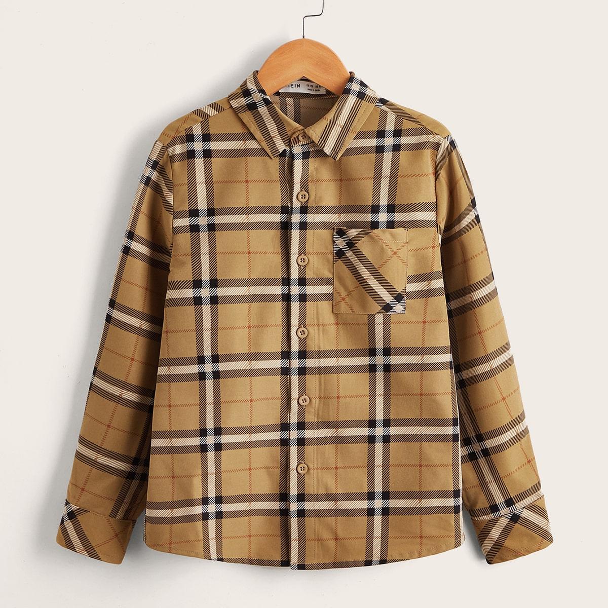 для мальчиков Рубашка в клетку с карманом