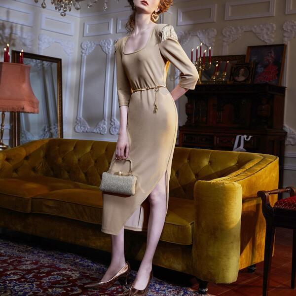 Square Neck Fringe Detail Split Thigh Dress Without Belt, Khaki