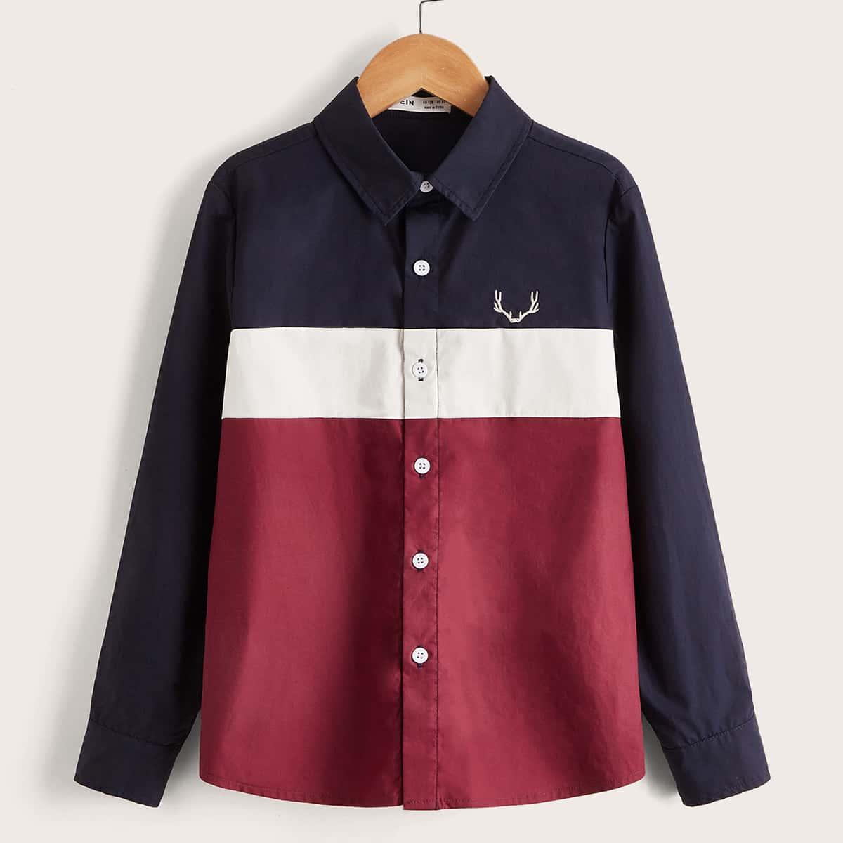 с вышивкой Пуговица Контрастный цвет графический принт Повседневный Рубашки для мальчиков
