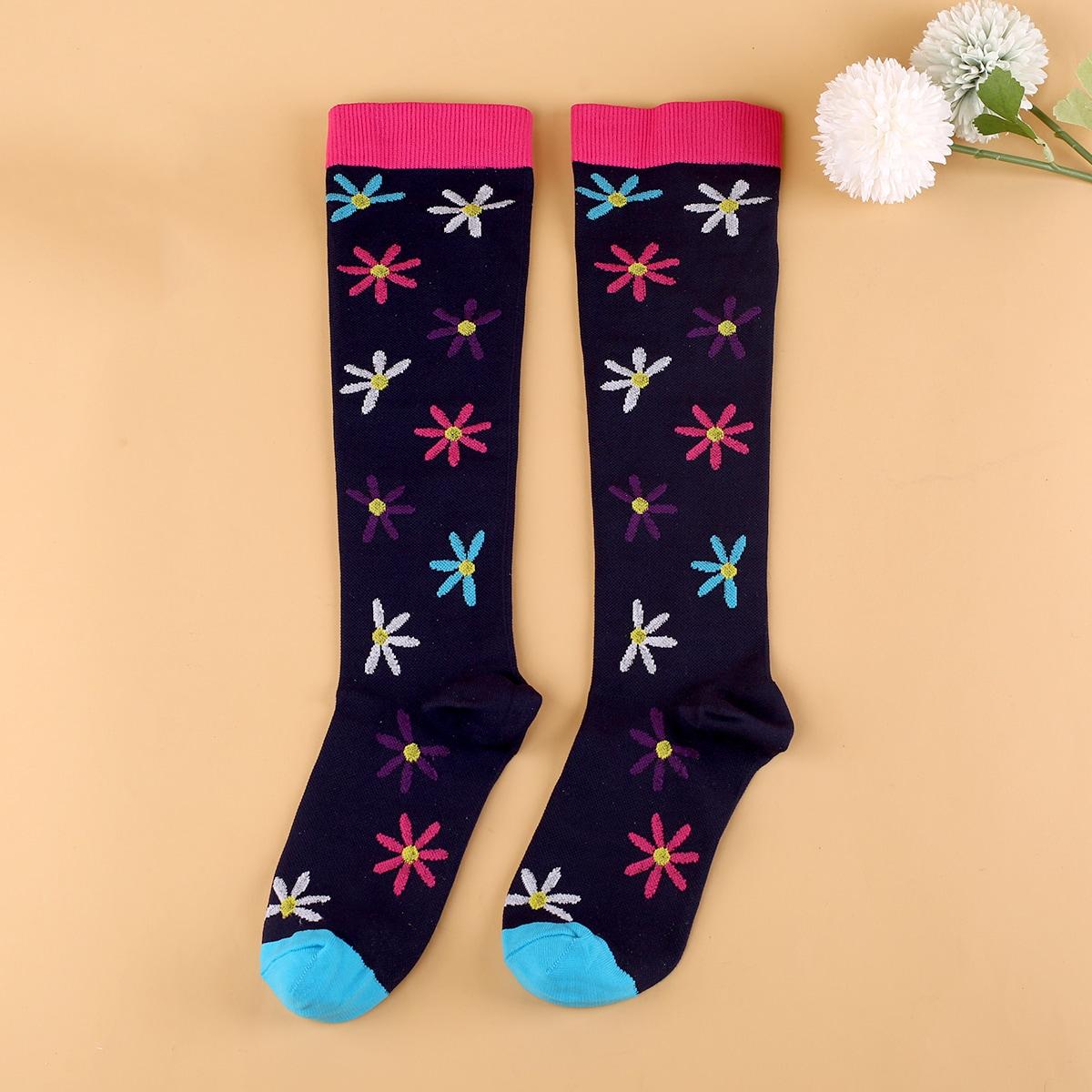 Носки выше голени с цветочным принтом
