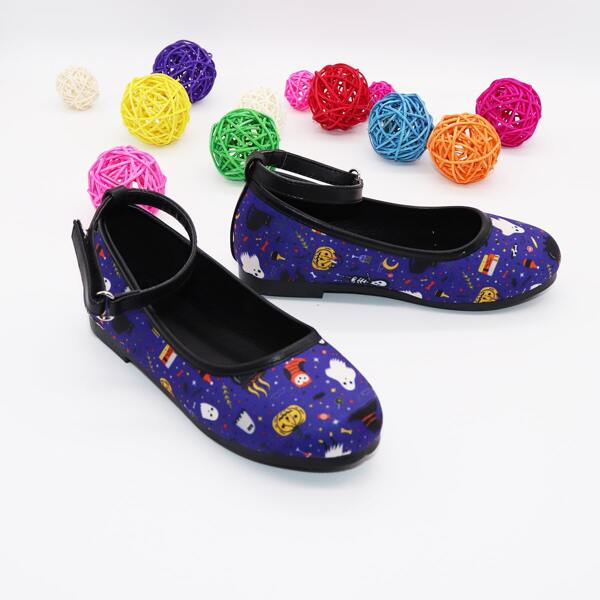 Girls Cartoon Halloween Graphic Ankle Strap Flats, Multicolor