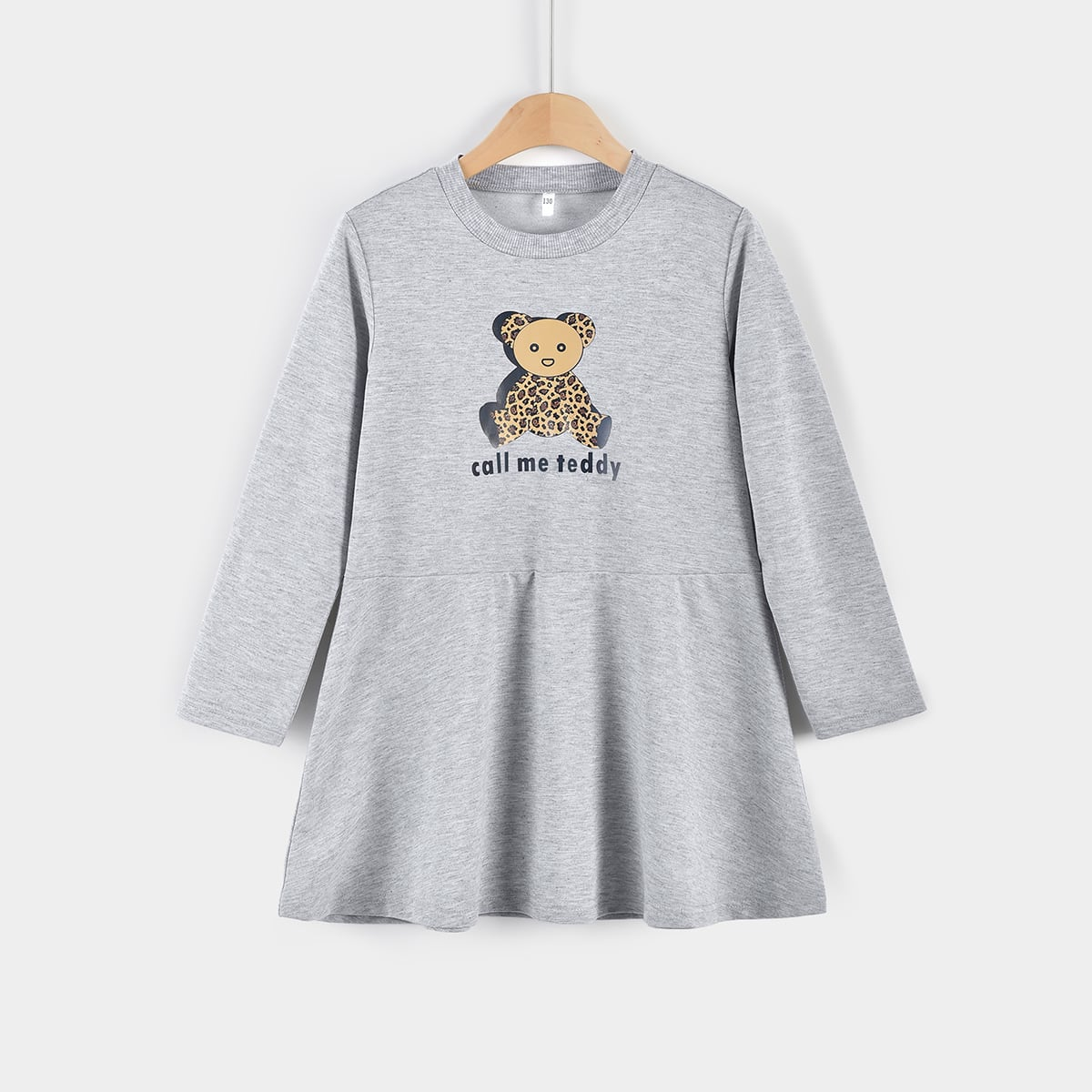 Girls Bear & Slogan Graphic Ruffle Hem Dress, SHEIN  - buy with discount