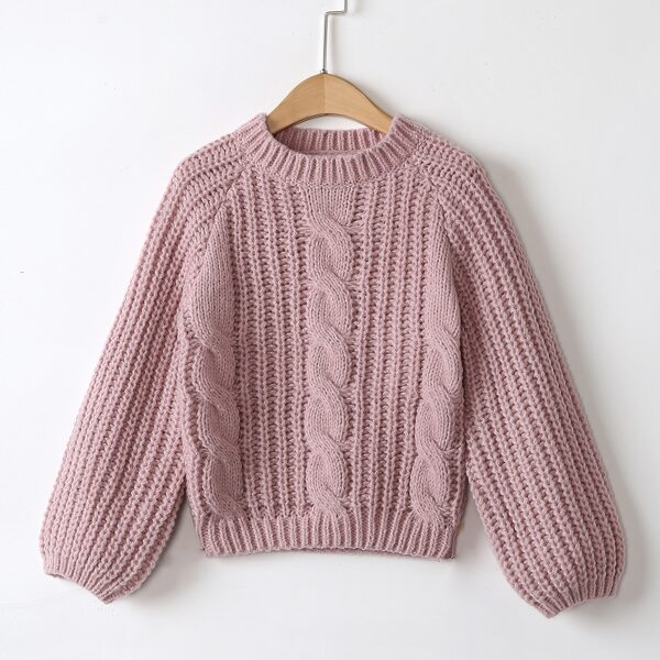 Girls Cable Knit Raglan Sleeve Sweater, Dusty pink