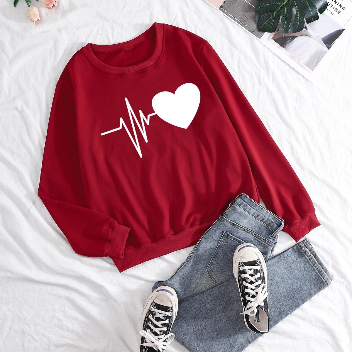 1pc Heart Print Sweatshirt