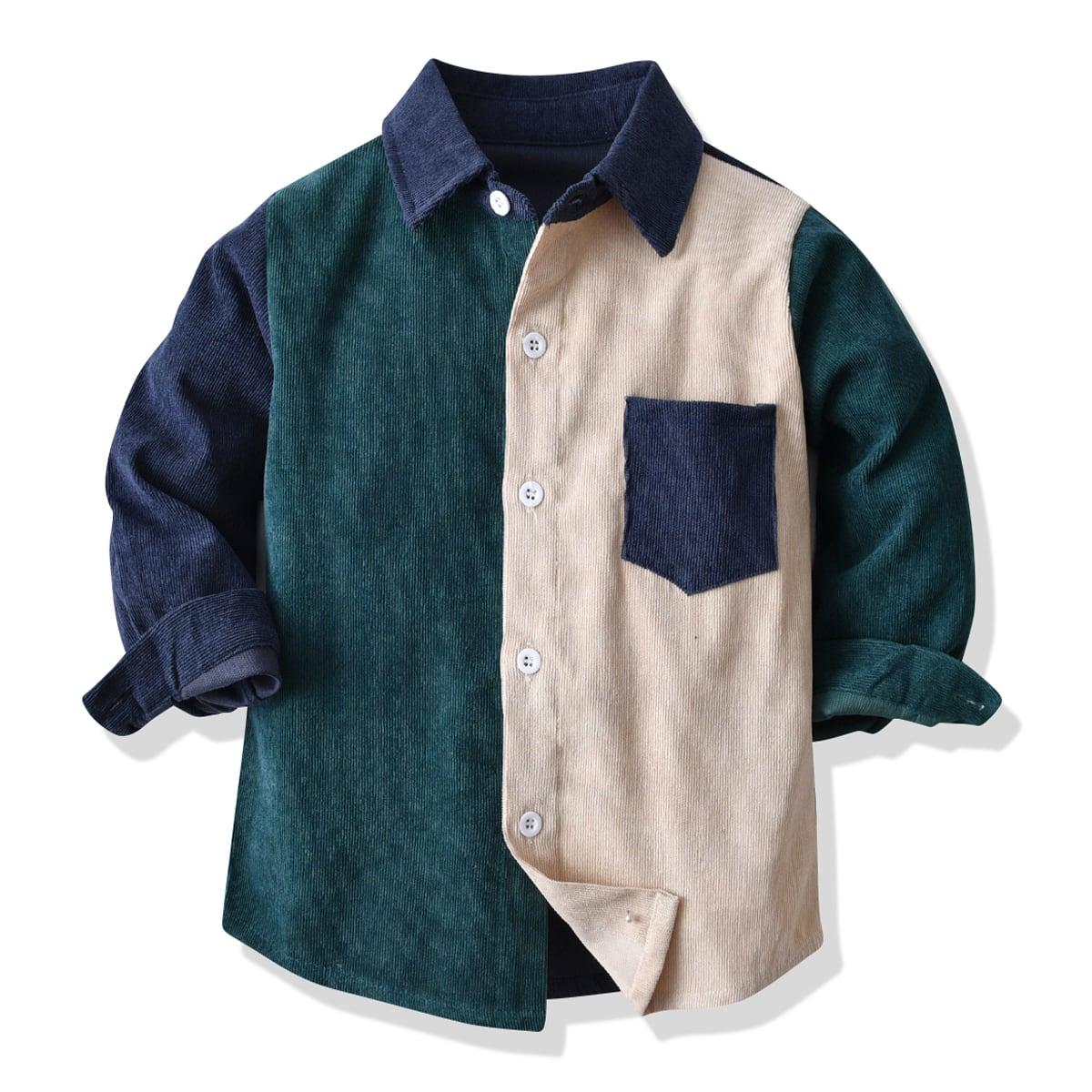 для мальчиков Рубашка контрастный из вельвета