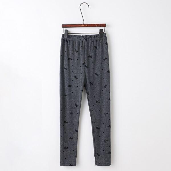 Girls Polka Dot & Bow Print Leggings, Dark grey