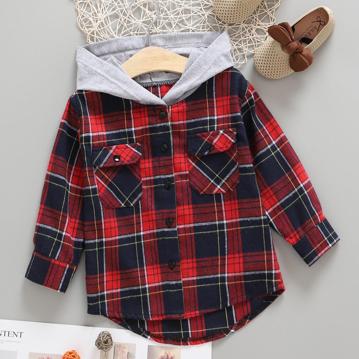 Асимметричный с карманами Пуговица Клетка Институтский Рубашки для мальчиков