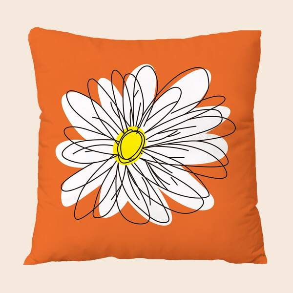 Floral Print Cushion Cover Without Filler, Orange