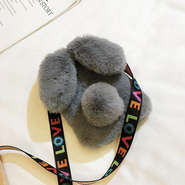 Fluffy Pom-Pom Decor Novelty Bag, Grey