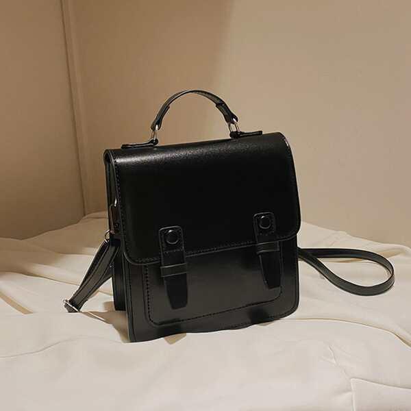 Buckle Decor Flap Satchel Bag, Black
