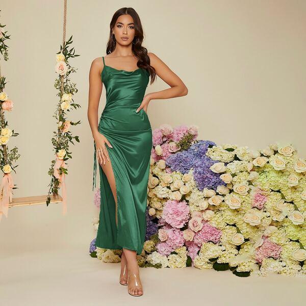 Drawstring Side Draped Collar Slit Thigh Satin Prom Dress, Dark green
