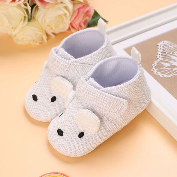 Baby Cartoon Design Velcro Strap Flats, White