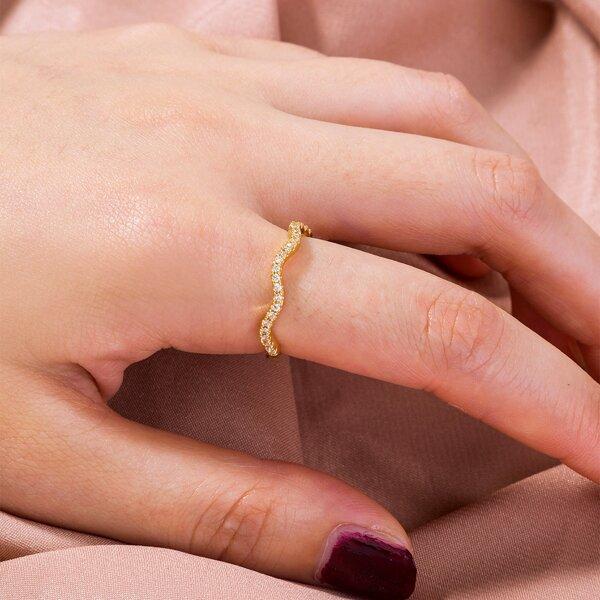 Zircon Decor Ring, Gold