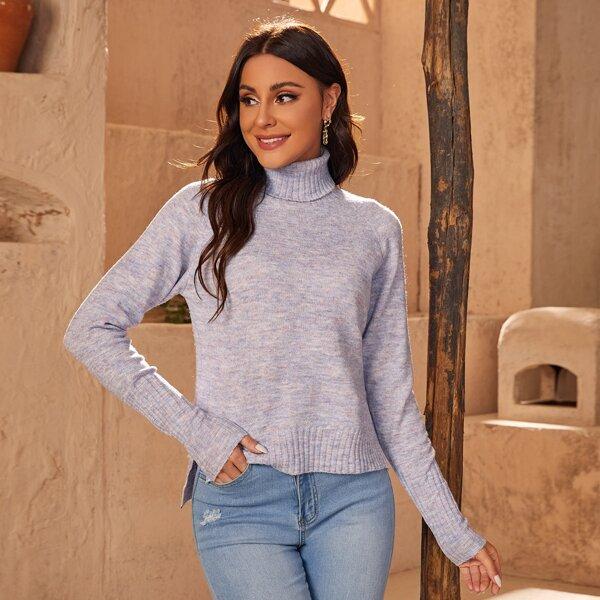 High Neck Raglan Sleeve High-low Hem Sweater, Mauve purple