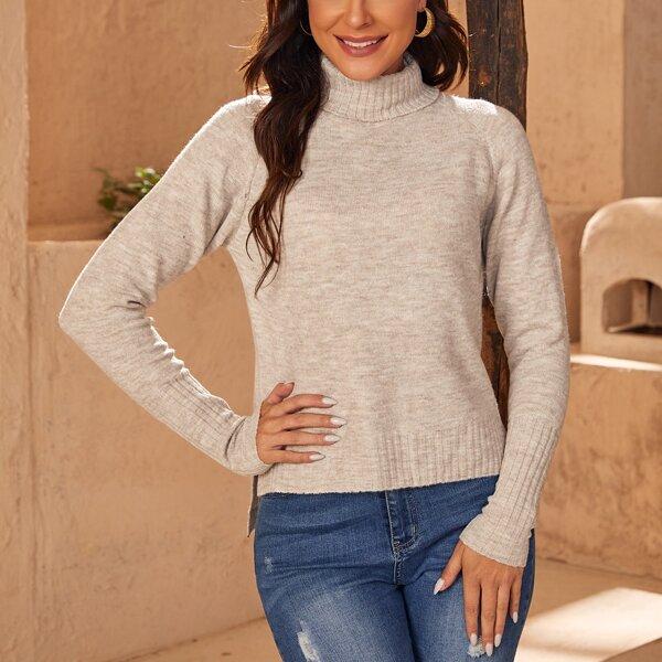 High Neck Raglan Sleeve High-low Hem Sweater, Apricot