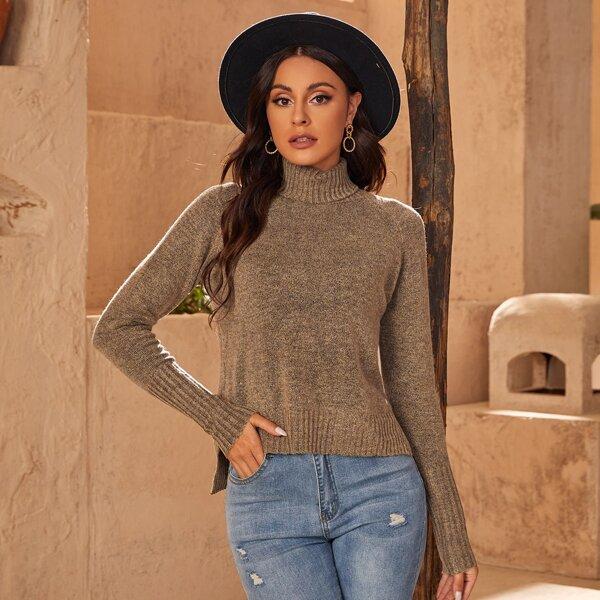 High Neck Raglan Sleeve High-low Hem Sweater, Camel