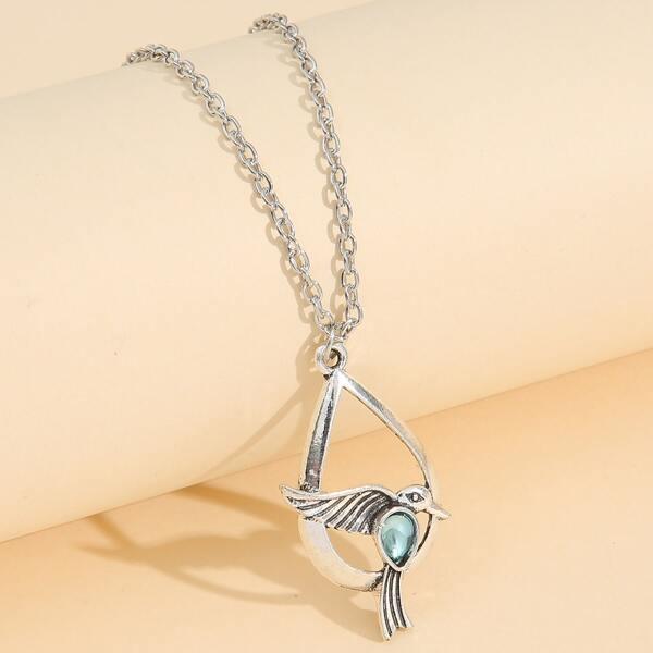 Bird Charm Necklace, Antique silver