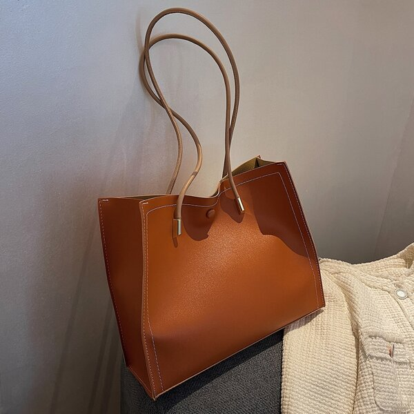 Minimalist Shoulder Tote Bag With Inner Pouch, Rust brown