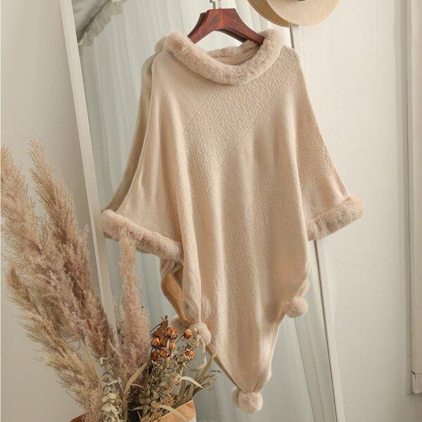 Fuzzy Trim Pom Pom Detail Asymmetrical Hem Poncho Sweater, Beige