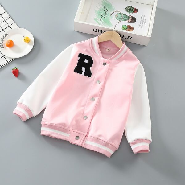 Girls Letter Patched Colorblock Contrast Trim Bomber Jacket, Pink