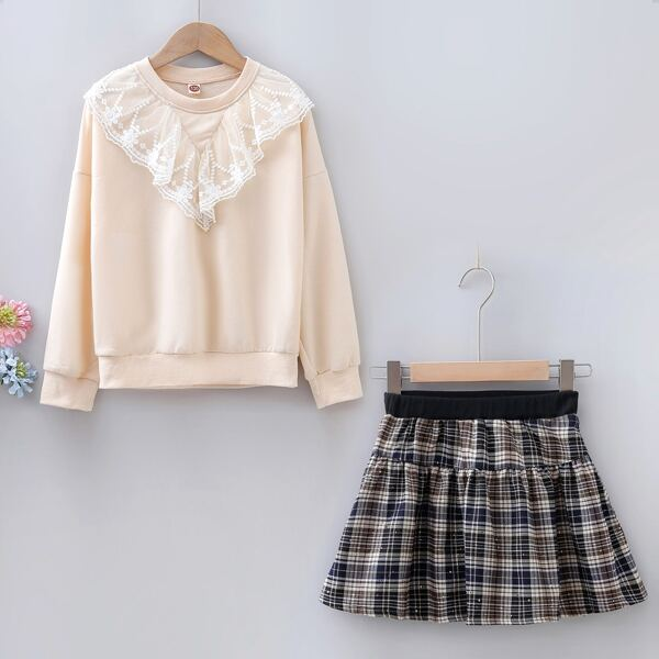 Girls Embroidery Mesh Ruffle Trim Drop Shoulder Pullover & Tartan Skirt, Multicolor