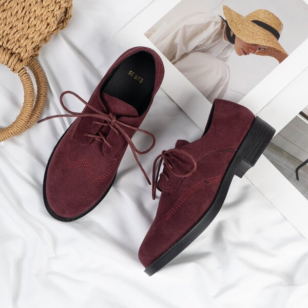 Lace-up Front Faux Suede Chunky Flats, Burgundy