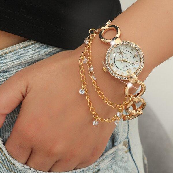 Chain Strap Rhinestone Decor Round Pointer Quartz Watch
