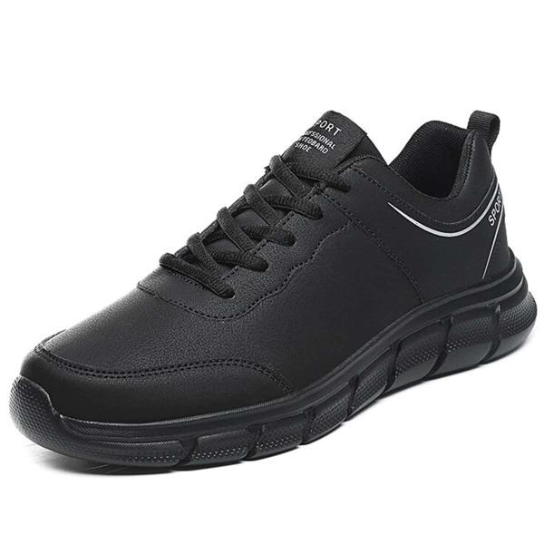 Men Lace Up Front Sneakers, Black