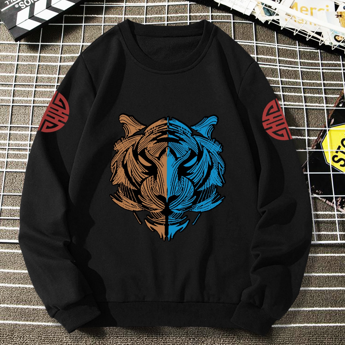 Men Tiger And Graphic Print Pullover