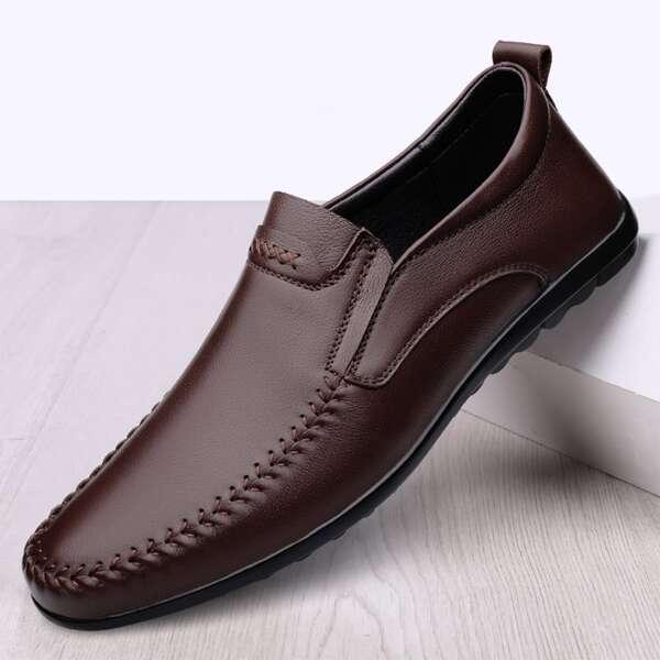 Men Stitch Detail Loafers, Brown