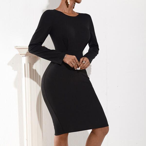 Split Hem Form Fitted Solid Dress, Black