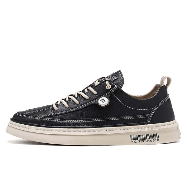 Men Minimalist Lace Up Front Skate Shoes, Black