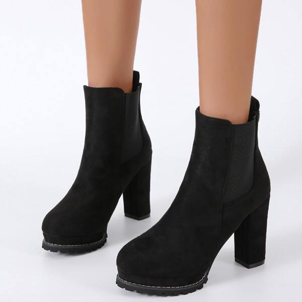 Minimalist Chunky Heeled Slip-On Chelsea Boots, Black