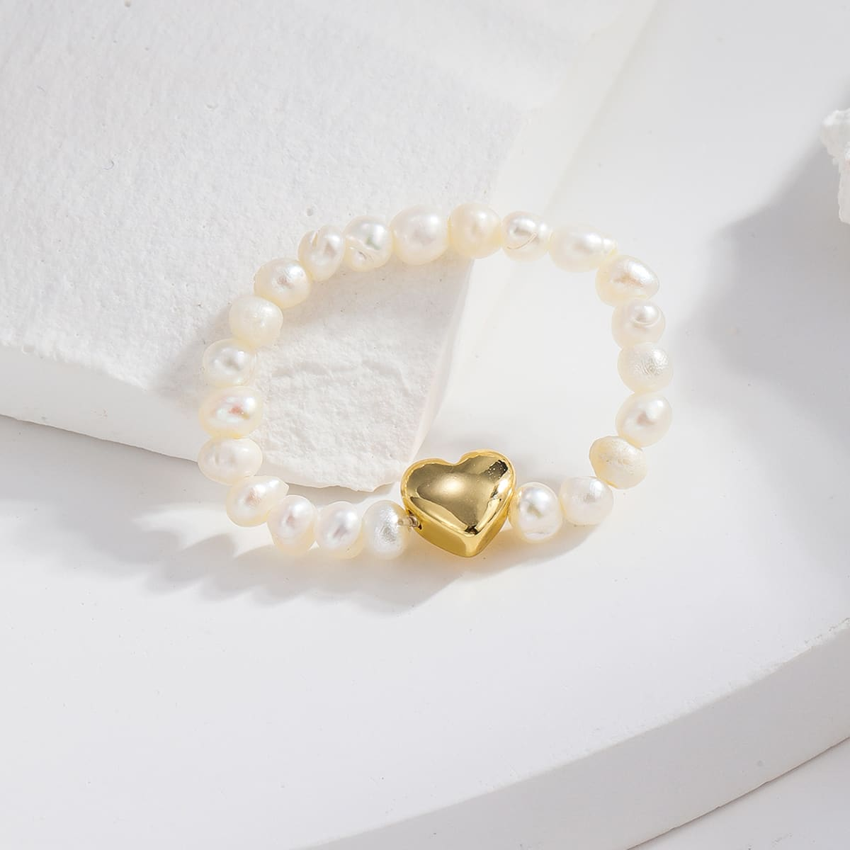 14K Gold Plated Pearl Beaded Ring, SHEIN  - buy with discount