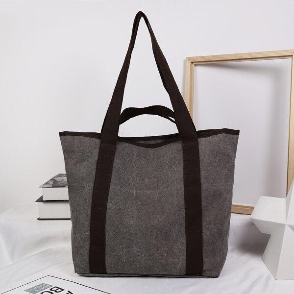 Minimalist Large Capacity Tote Bag, Dark grey