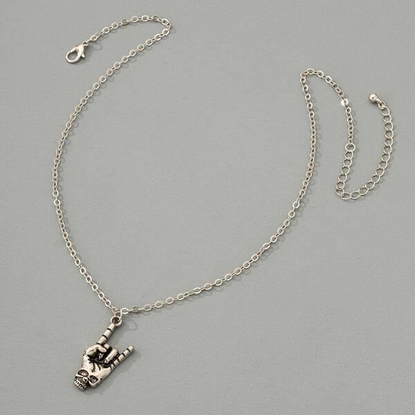 Men Hand Charm Necklace, Antique silver