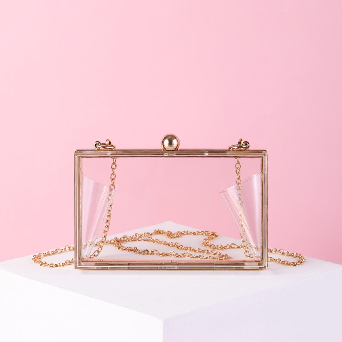Прозрачная сумка-бокс на цепочке